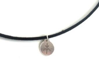 TREE- knowledge velvet choker necklace - handmade sterling silver 925 pendant