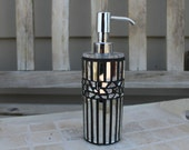 Silver mirror glass mosaic soap/lotion dispenser, soap dispenser, lotion dispenser, mosaic dispenser, glass mosaic dispenser, mirror mosaic