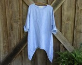 linen dress tunic in blue white stripe contemporary Ethnic ready to ship