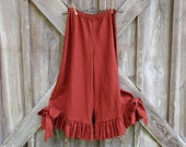 SALE WAS 125. NOW 65. linen pant bloomer ruffled with bow chili powder ready to ship
