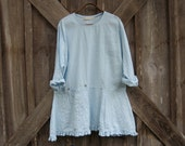 linen dress tunic in light baby blue ready to ship