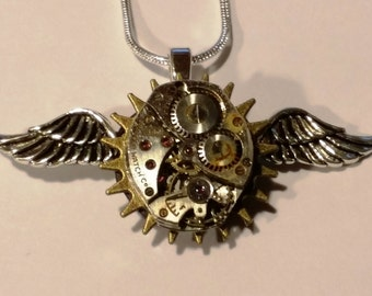 Steampunk Pendant, Watch Movement, Wings and Gear, Snake Chain