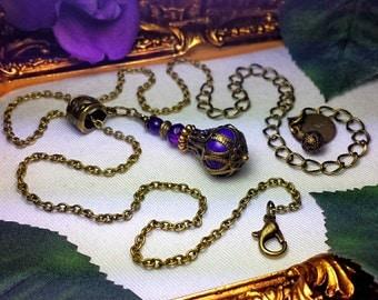 Purple Turquoise Jeannie Bottle Necklace, Amethyst Genie Bottle Pendant Victorian Steampunk Drop, Antiqued Gold, Titanic Temptations Jewelry