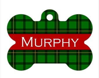 Personalized Pet ID Tag - Murphy Custom Name Plaid Bone Pet ID Tag, Dog Tag