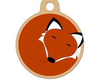 Pet ID Tag - Sleeping Fox Pet Tag, Dog Tag, Cat Tag