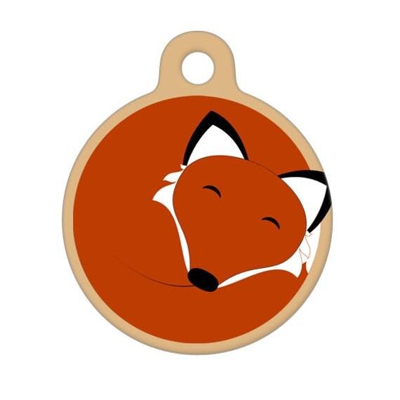 Pet ID Tag - Sleeping Fox Pet Tag, Dog Tag, Cat Tag