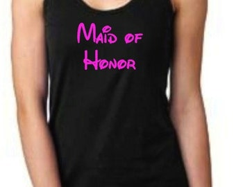 Disney Maid of Honor Hot Pink on Black Flowy Scrunched Pleated Back Racerback Tank Top Wedding Bridal Shower Bachelorette Party Shirt