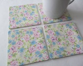 Set Of 4 Fabric Coasters/Pink And Blue Flowers