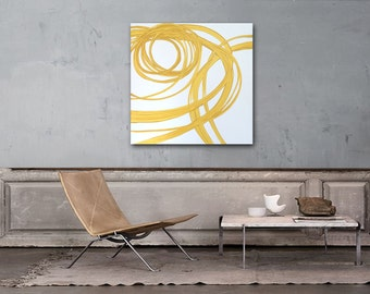 "24"" x 24"" Original Abstract Painting - Contemporary Wall Art Decor - yellow swirl linear - minimal"