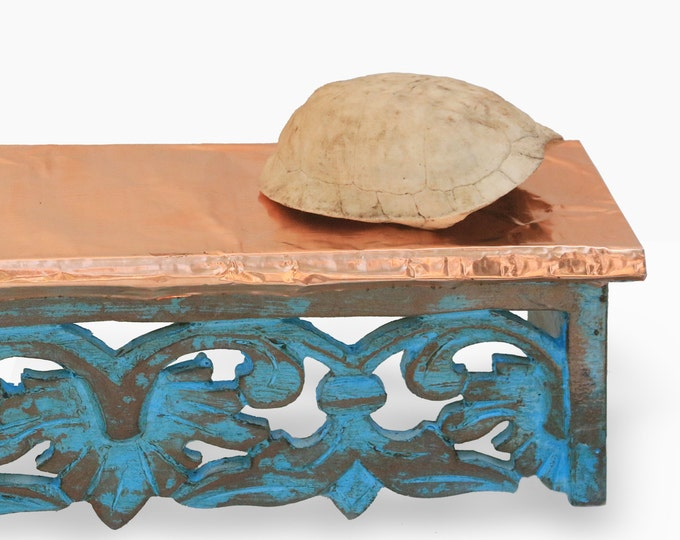 Island Style Copper Shelf Weathered Blue Wall Mounted Shelving Ornate Beach Jamaican Home Colorful Distressed Wood Nautical Tropical Decor