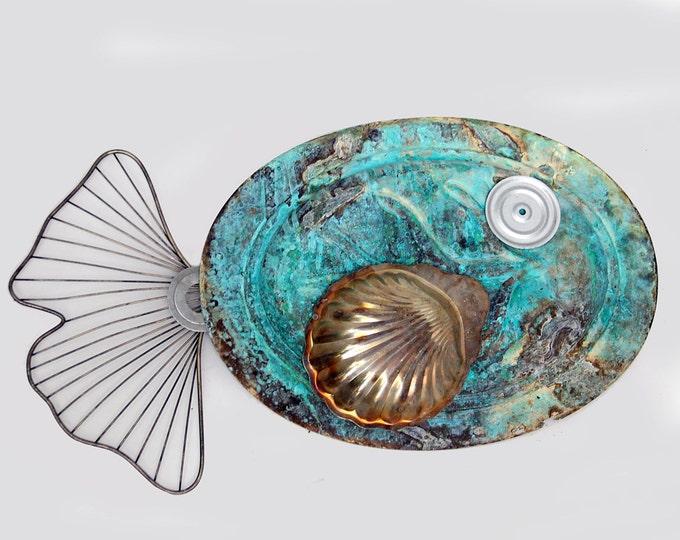 Xl Metal Fish Art Wall Sculpture Up-cycled Marine Vintage Copper Patina Platter Whale Aqua Teal Blue Green Antique Outdoor Indoor Walls Seas
