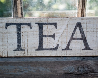 tiny farmhouse kitchen sign, rustic TEA sign, farmhouse kitchen decor, neutral style kitchen, cottage kitchen