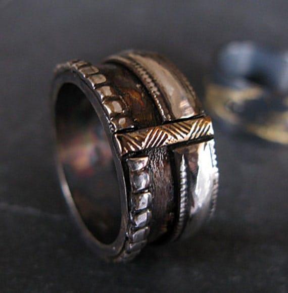 Viking Bands: Viking Ring Man Wedding Band Wide Gold Silver Ring Man Wedding