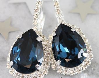 Navy Blue Earrings,Swarovski Navy Blue Earrings,Blue Navy Drop Earrings,Bridal Silver Drop Earrings,Blue Navy Dangle Earrings,Bridal Jewelry