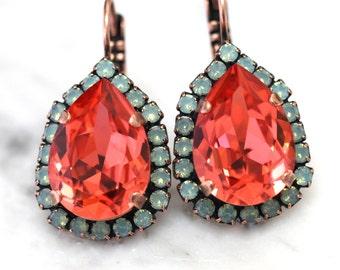 Mint Coral, Peach Mint green drop earrings, Coral Mint dangle earrings, Swarovski crystal earrings, Bridal earrings, Wedding jewelry.
