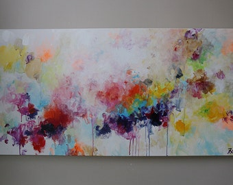 Peinture acrylique moderne art abstrait vert lime par artbyoak1 - Peinture abstraite coloree ...