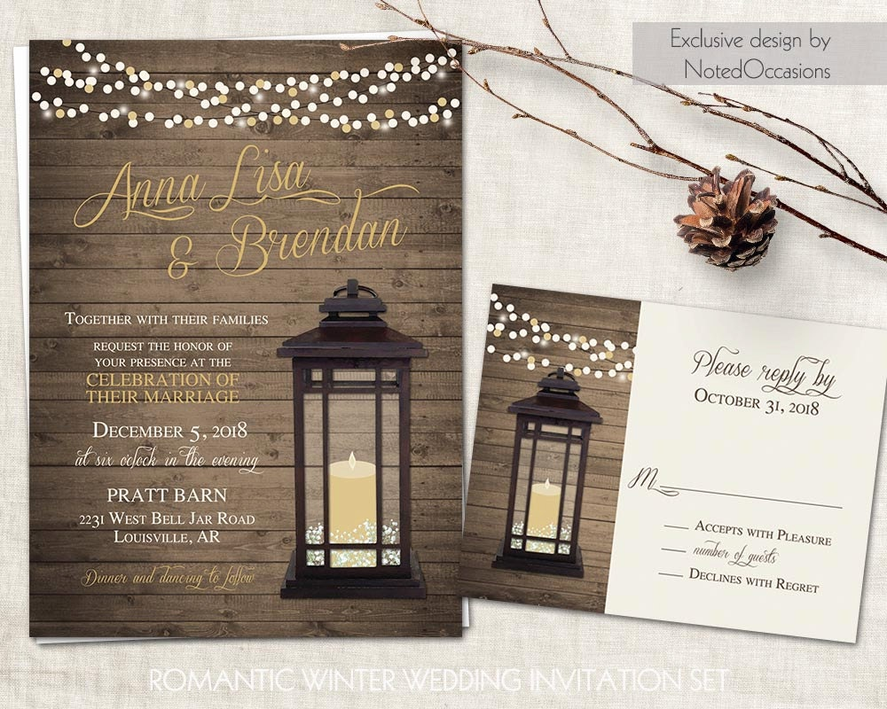 Candlelight Wedding Invitations: Lantern Wedding Invitations Set Rustic Country Wedding