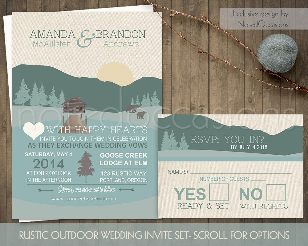 Mountain Wedding Invitations Rustic Outdoor Wedding Log