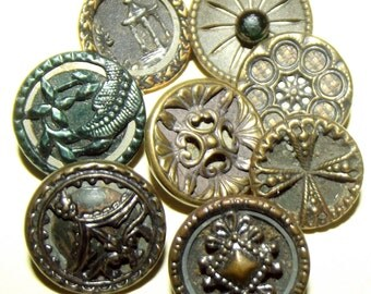 Antique Buttons 8 Tinted small Metals