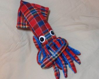 Made to Order Seamus McSquidlan the Red and Blue Plaid Fleece Squid Stuffed Animal Plush