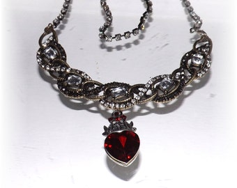 Queen of Hearts Red Holiday Heart Statement Necklace With Crystal Chain - Hollywood Glam Necklace - Ready To Ship!