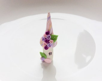 Cup cake topper miniature fairy house in pink and lilac  colours handmade from polymer clay