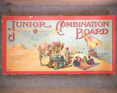 Antique Junior Combination Board Game 4927 Milton Bradley Copyright 1905 Two Boards 12 Games Vintage Toy Collectible in Box Great Graphics