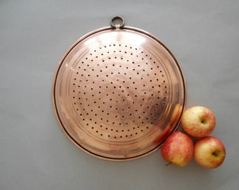 Antique Copper Sieve Colander Strainer with Hanging Loop Wall Decor Farmhouse Kitchen Shabby Country Cottage Home Decor