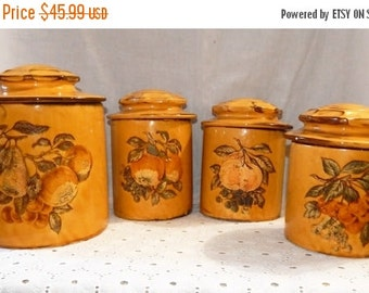 fall sale 2016 Warm Vintage ~Harvest Gold ~Canister Set of 4 w/Lids Holiday Designs USA Ceramic /Pottery ~ Fruit~ French Country