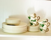 Vintage Dish Set Dinnerware California Ivy Hand Painted Poppy Trail Stoneware Large Plates & Cups Collection