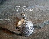 Wax Seal Necklace,  Mens Sterling Pendant I DARE ~ FEARLESS Talisman  -~ Arm and Sabre ~ Inspirational Talisman Jewellery ~ Jewelry for Man
