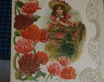 Pretty Vintage Edwardian Valentine Card Girl by Fence Mums To My Sweetheart