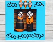 Day of the Dead Peg Doll Halloween Couple Wall Art