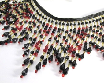 Sultry Nights Black and Dark Red 5.5 inch Long Beaded Fringe Decorator Trim