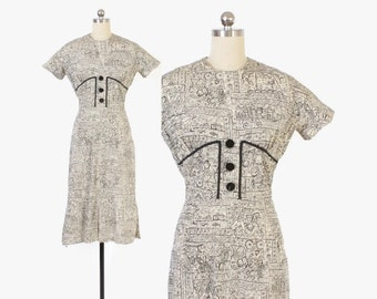 Vintage 60s Day DRESS / 1960s Black & White NOvelty People Print Cotton Wiggle Dress XS