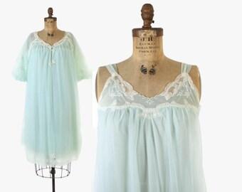 Vintage 60s Nightgown & Peignoir SET / 1960s Sheer Mint Nylon Lace Trim Nightie Robe S