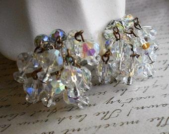 Crystal cha cha cluster earrings AB crystal clip on dangle earrings Bridal jewelry
