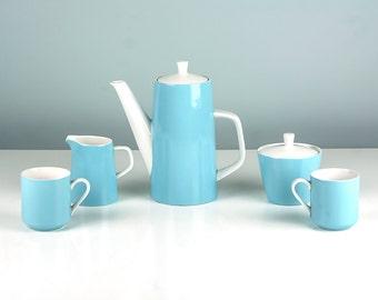 Vintage Mikasa Cera Stone Coffee Set, Tea Set, Blue and White, Focus Shape, Tiki, Made in Japan, by Jonas Roberts