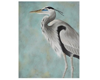 Great Blue Heron painting - shore bird art - beach house decor - 16x20