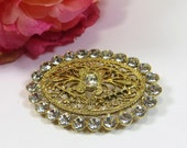 Lovely Vintage French Filigree and Crystal Rhinestone Brooch Pin, Goldtone Filigree Sparkling Oval Rhinestone Crystal Vintage Pin Brooch