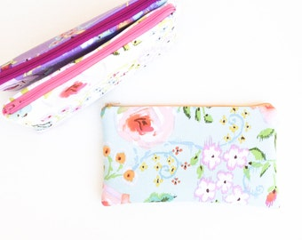 Pastel Zipper Pouch, Floral Makeup Bag, Cosmetic Bag, Pencil Pouch, Pencil Case, Womens Gift, Purse Organizer, Purple, Aqua