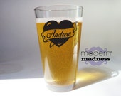 Pint Glass - personalized tattoo - birthday - Father's Day - Christmas