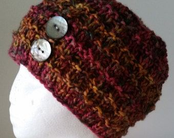Ladies knitted hat - cranberry and orange