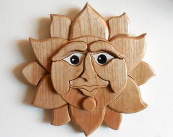 Sun Face Wood Fantasy Wall Art Hand Cut