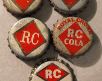 Royal Crown Cola White and Red Bottle Caps, Vintage Bottle Caps, Crafting, Jewelry Supply, RC Cola, Cork Lined Bottle Caps