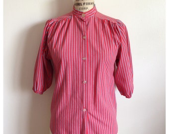 SALE - Vintage 1980s high collared blouse