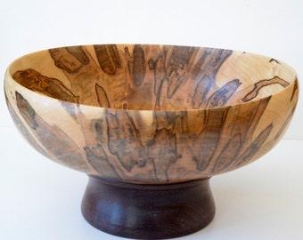 Wood Pedestal Bowl, Ambrosia Maple and Black Walnut, Handturned, Centerpiece, Serving Bowl