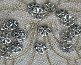 20 pcs of Antique Silver metal leaf flower bead cups 11mm,beadcap findings,beads,findings beads