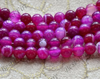 Charming 8mm hot pink agate round Gemstone Loose Beads,agate gemstone loose bead,semi-precious stone bead
