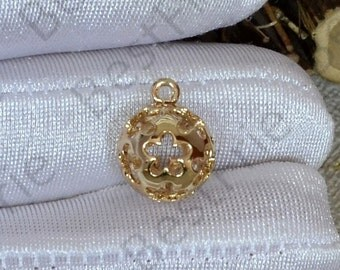 2pcs 24K Gold plated Brass Flower ball Pendant,flower pendant Connector,necklace Connector loose bead, Charms Jewelry finding beads